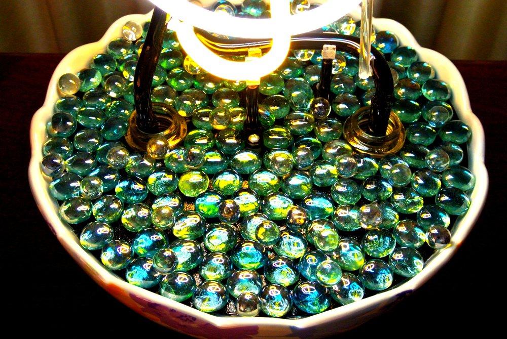 Reflective Marbles in Treble Cleft Neon Sculpture Base - by John Barton - Famous USA Neon Glass Artist - BartonNeonMagic.com