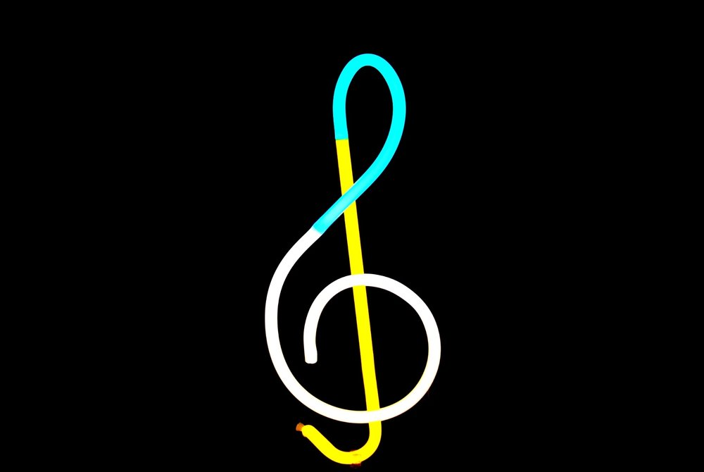 GREAT GIFT FOR MUSICIANS! Treble Cleft Designer Neon Tabletop Sculpture!