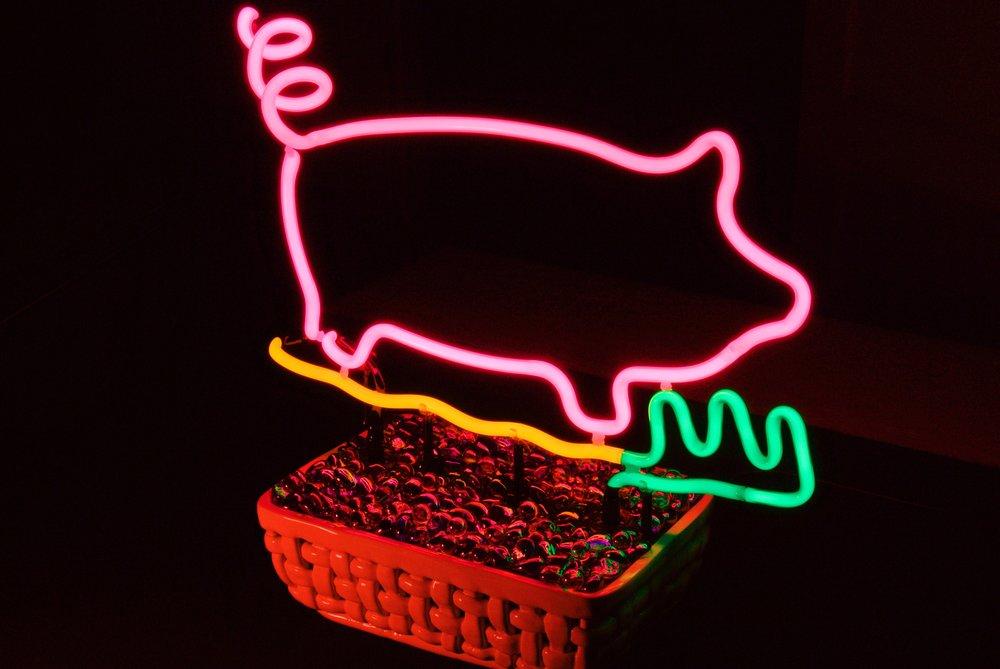 """""""Beach Piggy"""" Tabletop Neon Sculpture by John Barton - Famous USA Neon Glass Artist - BartonNeonMagic.com"""