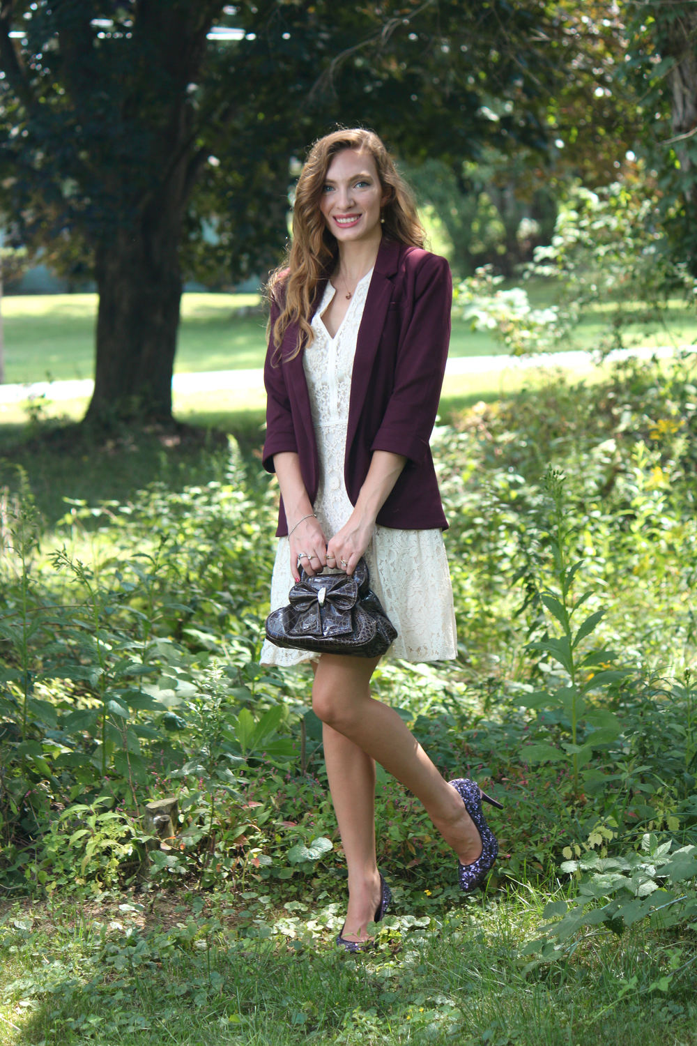 wine blazer, purple sparkle heels