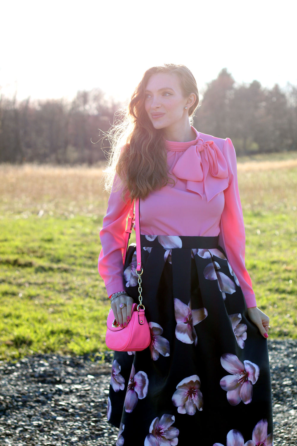 pink bow and floral