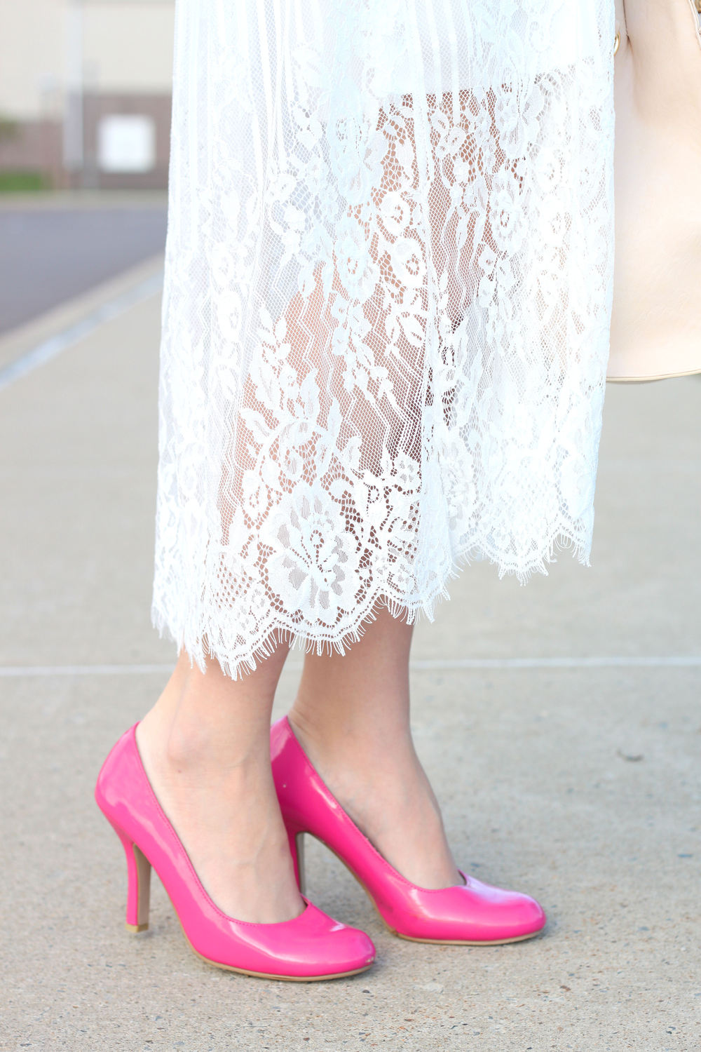 White Lace With A Pop Of Pink- Enchanting Elegance
