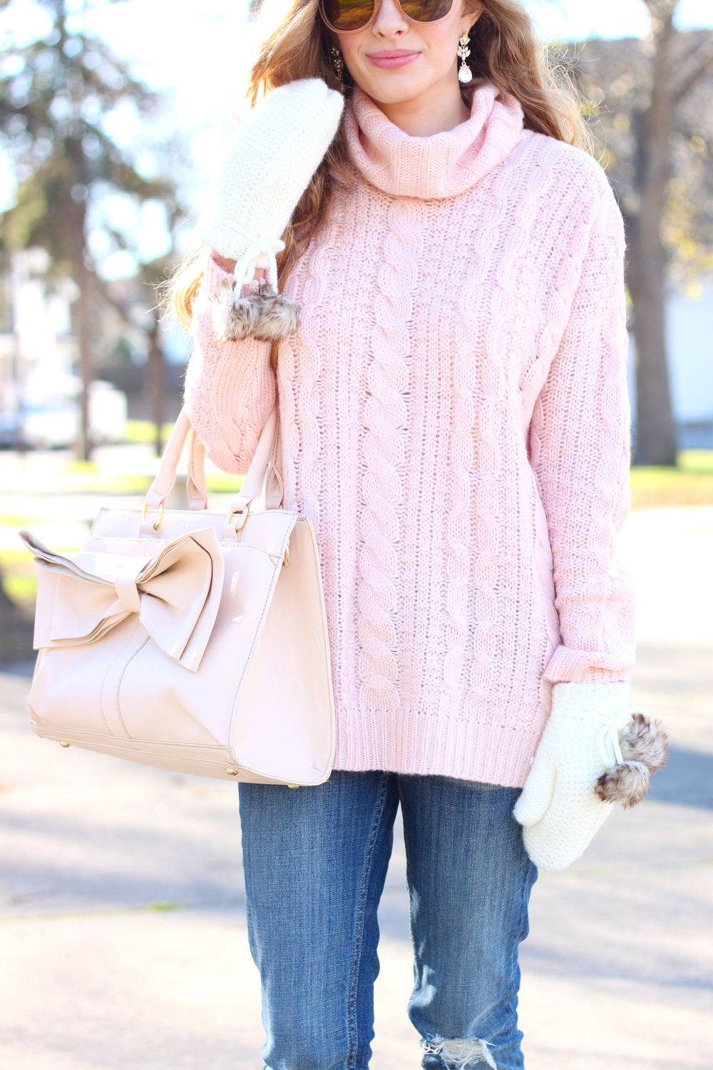 Blush Turtleneck and Pom-Poms- Enchanting Elegance