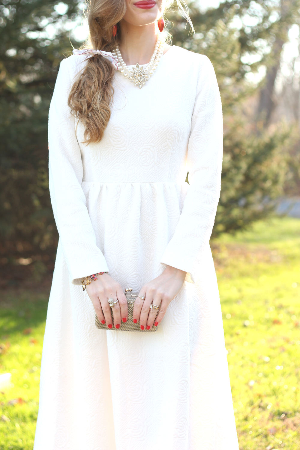 White Holiday Dress- Enchanting Elegance