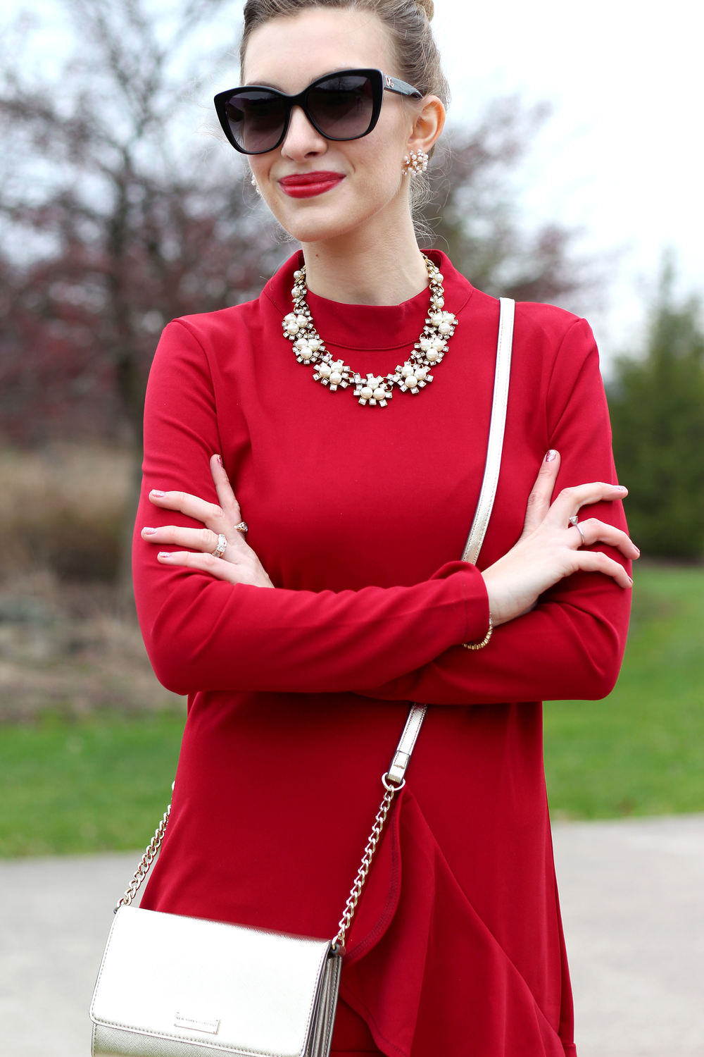 Red Dress & Statement Necklace- Enchanting Elegance