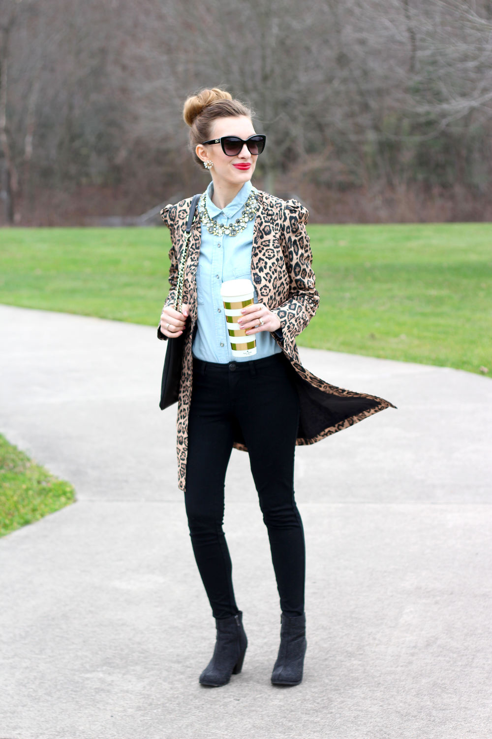 Leopard Coat and Statement Necklace-Enchanting Elegance
