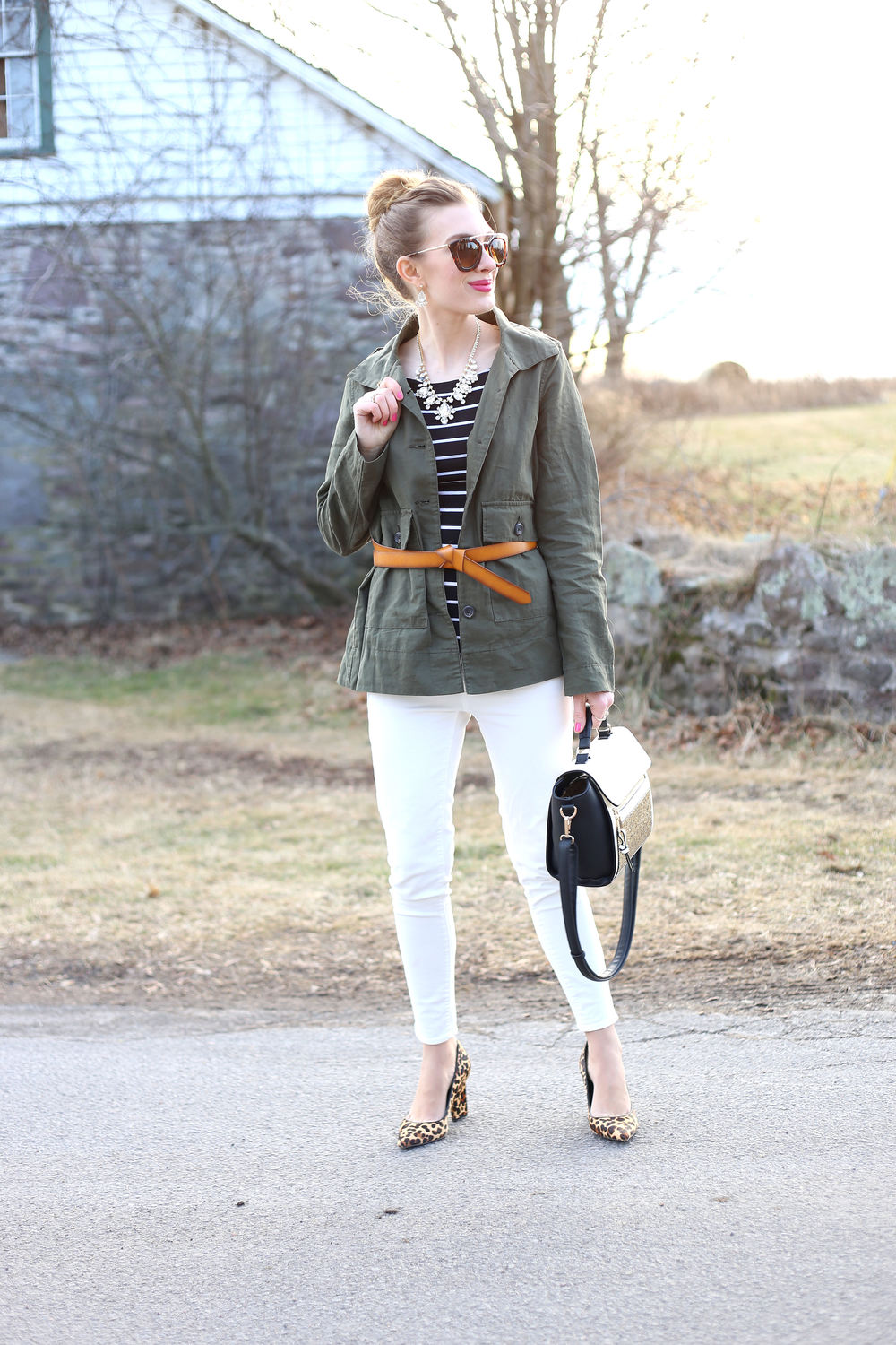 Olive Green & Stripes- Enchanting Elegance