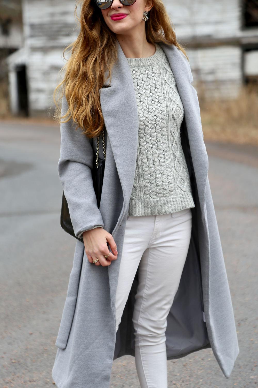Gray Long Line Coat- Enchanting Elegance