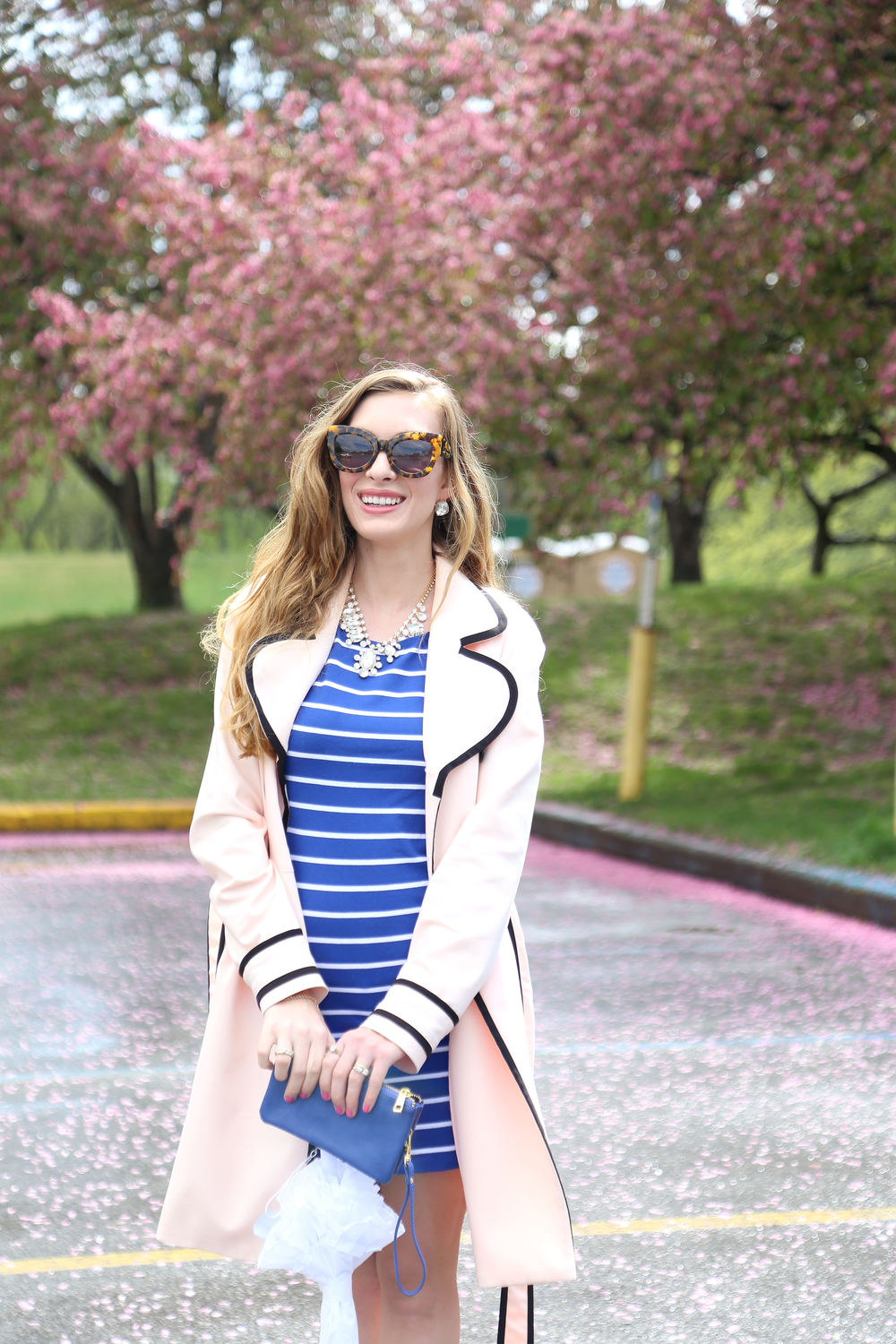 Blue Striped Dress- Enchanting Elegance