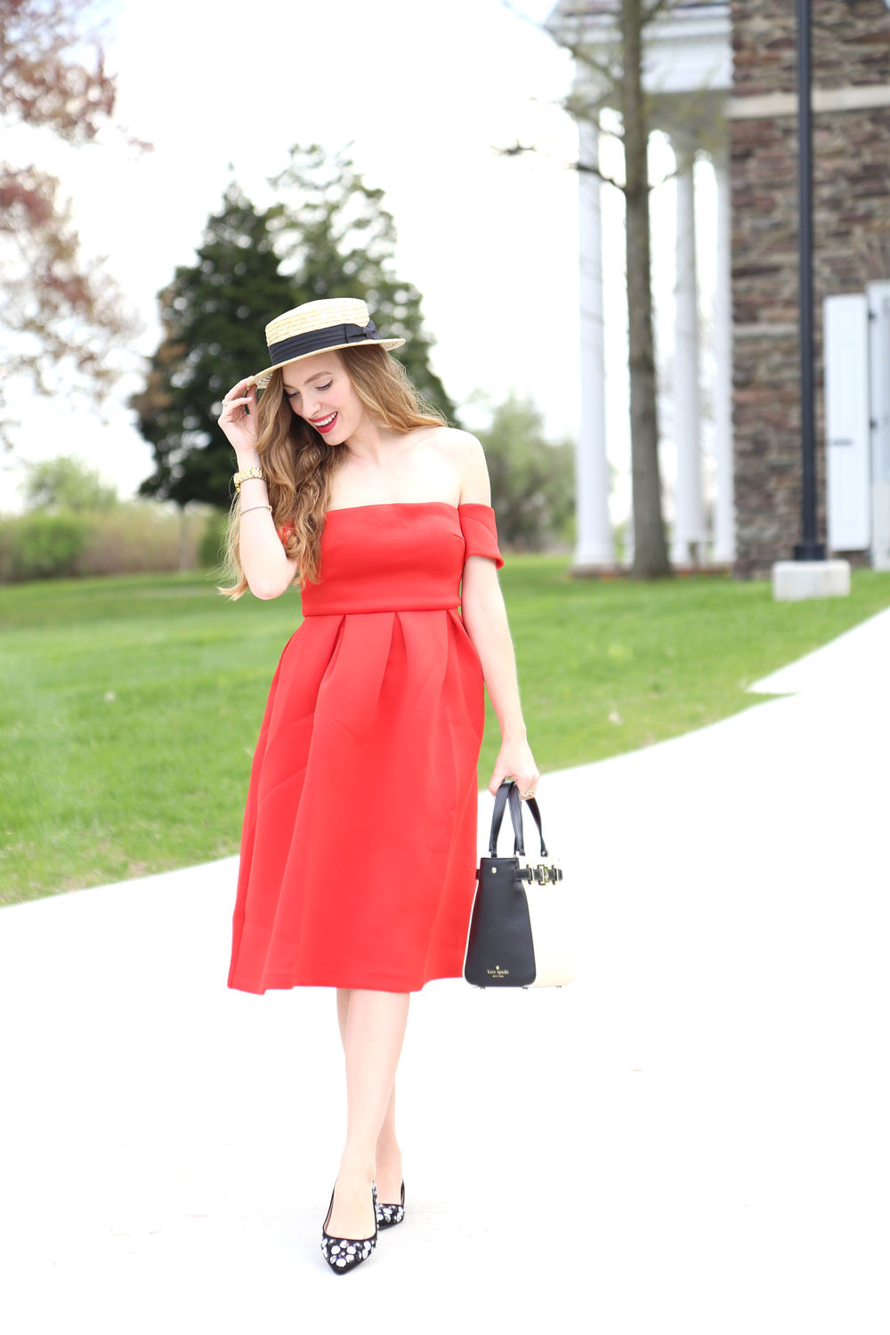 Off The Shoudler Red Dress- Enchanting Elegance