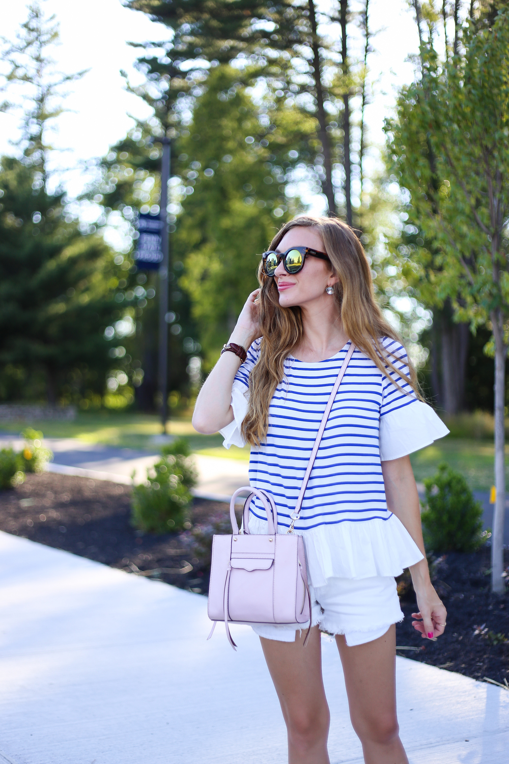 Blue Striped Top- Enchanting Elegance