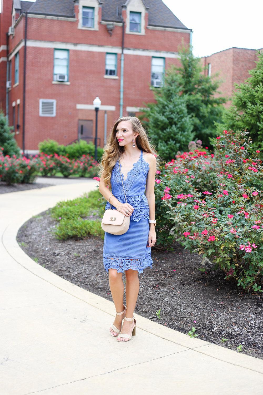 Blue Criss-Cross Dress- Enchanting Elegance