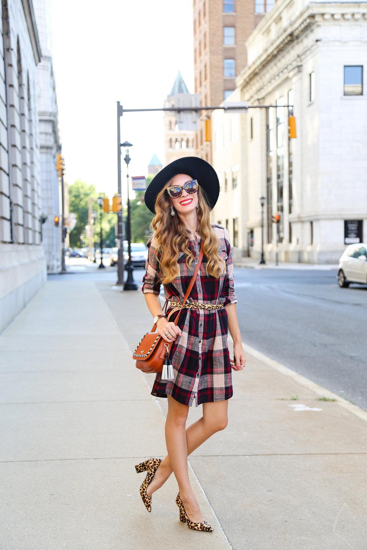 Plaid Shirt Dress // Transition Style- Enchanting Elegance