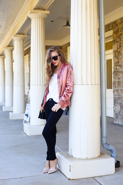 Rose Gold Bomber Jacket- Enchanting Elegance