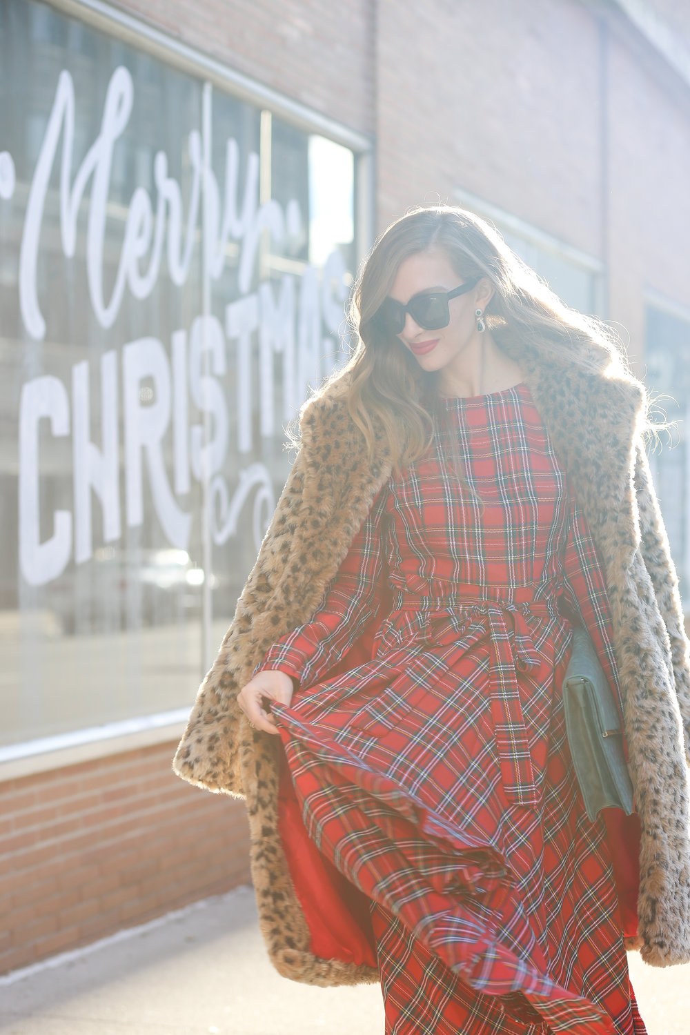 Plaid Dress + Leopard Coat- Enchanting Elegance