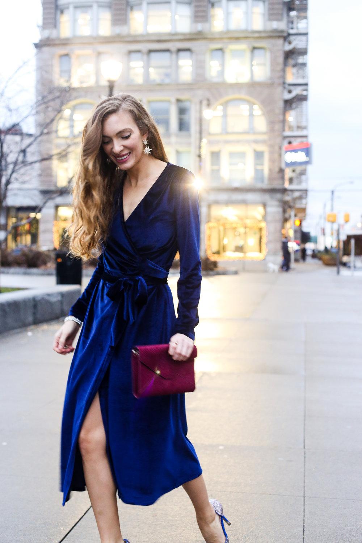 Blue Velvet Wrap Dress- Enchanting Elegance