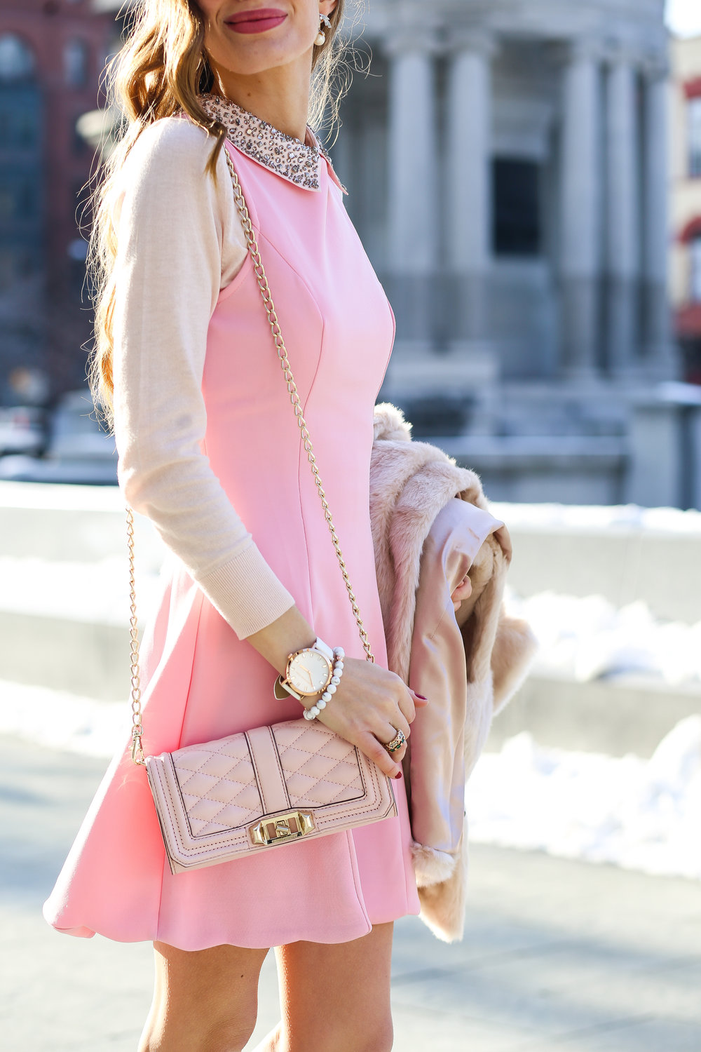 Pink Scalloped Dress- Enchanting Elegance