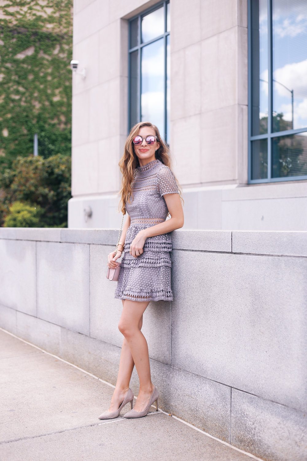 Gray Lace Dress- Enchanting Elegance