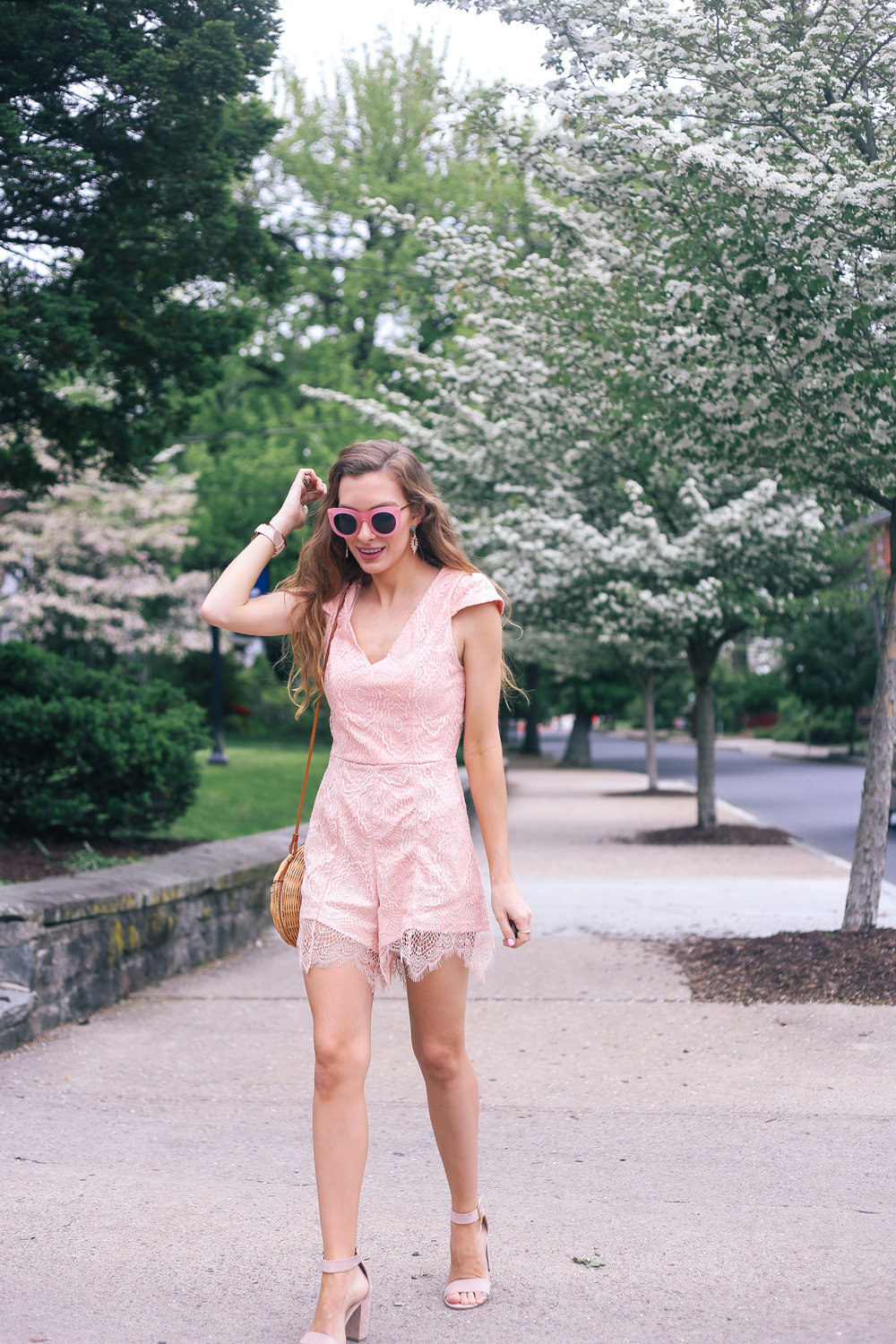 Blush Lace Romper- Enchanting Elegance