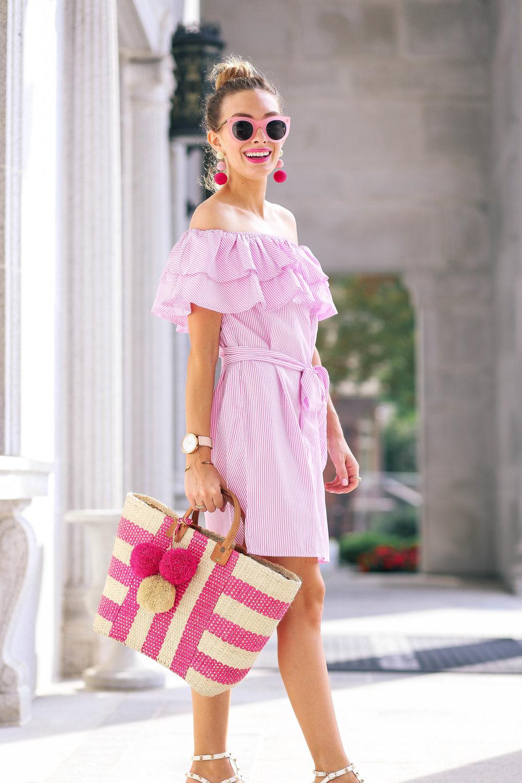Pink Off The Shoulder Dress- Enchanting Elegance