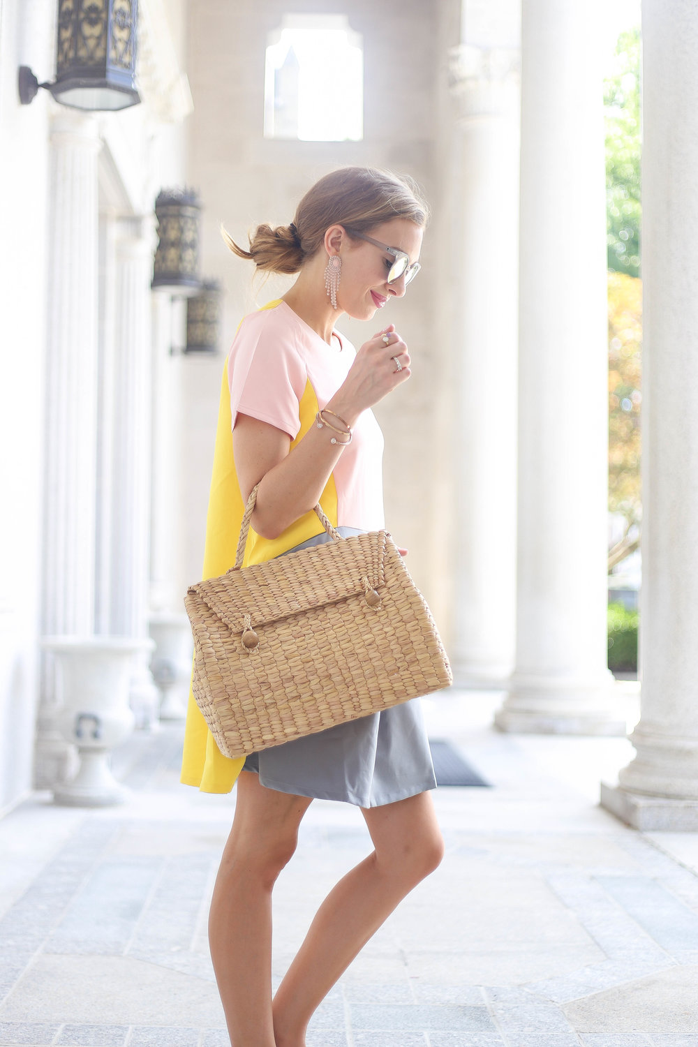 Lemon Aid Dress // Water Hyacinth Bag