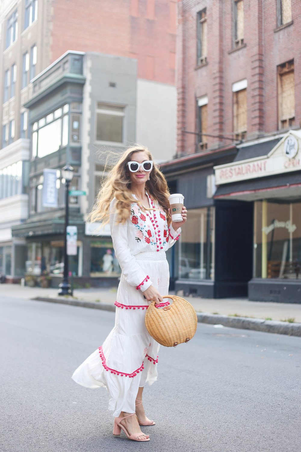 Embroidered floral maxi dress. Pink sandals, white sunglasses. Straw Bag.