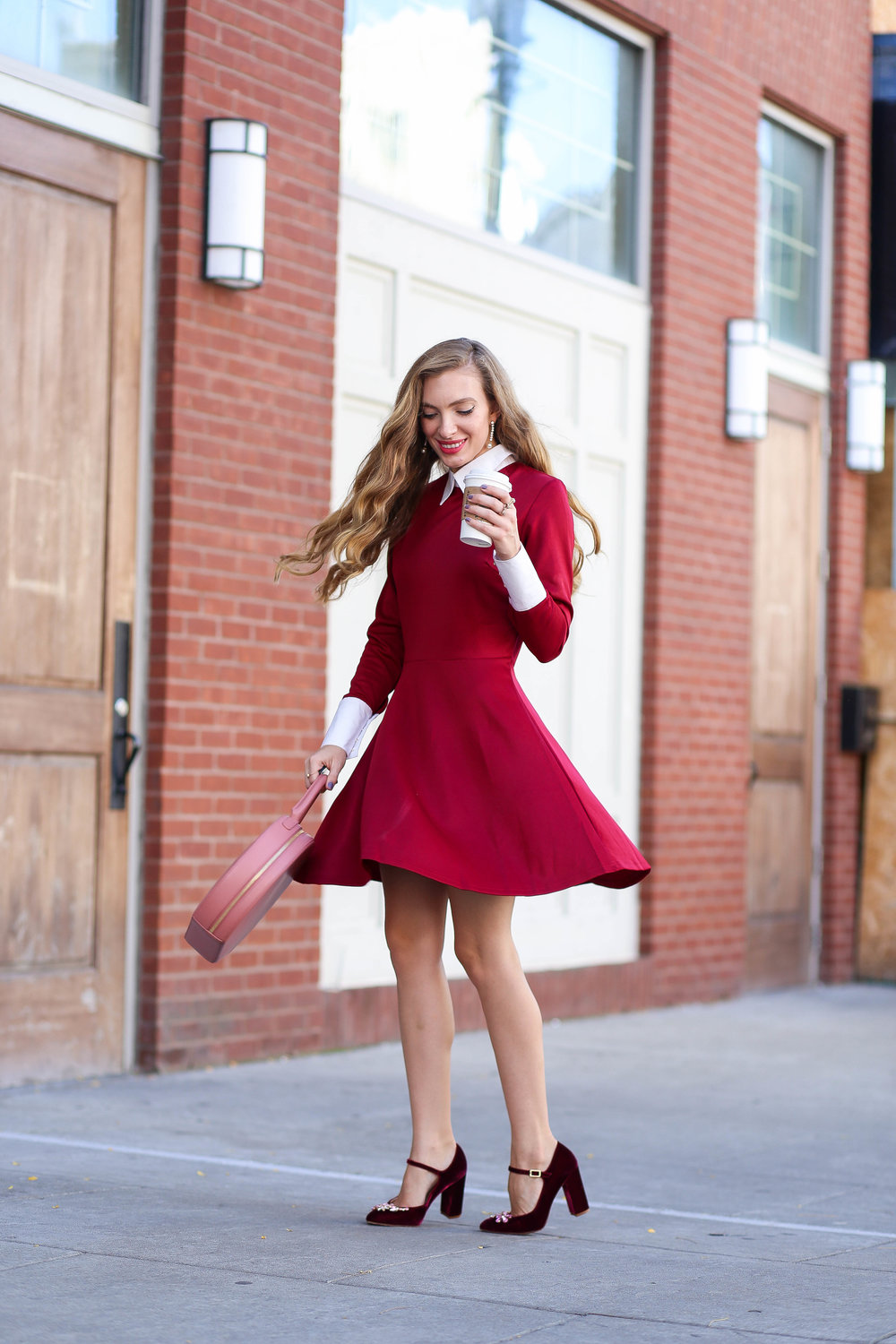 Burgundy Dress. Burgundy Heels. Blush Circle Bag. Fall Style. Mary Janes.