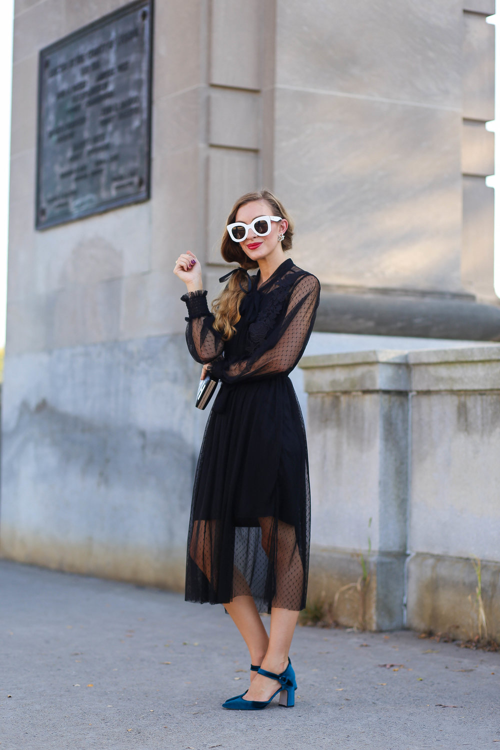 Black Dress. Teal Velvet Heels. White Sunglasses. Black Clutch. Evening Style. Fall Style.