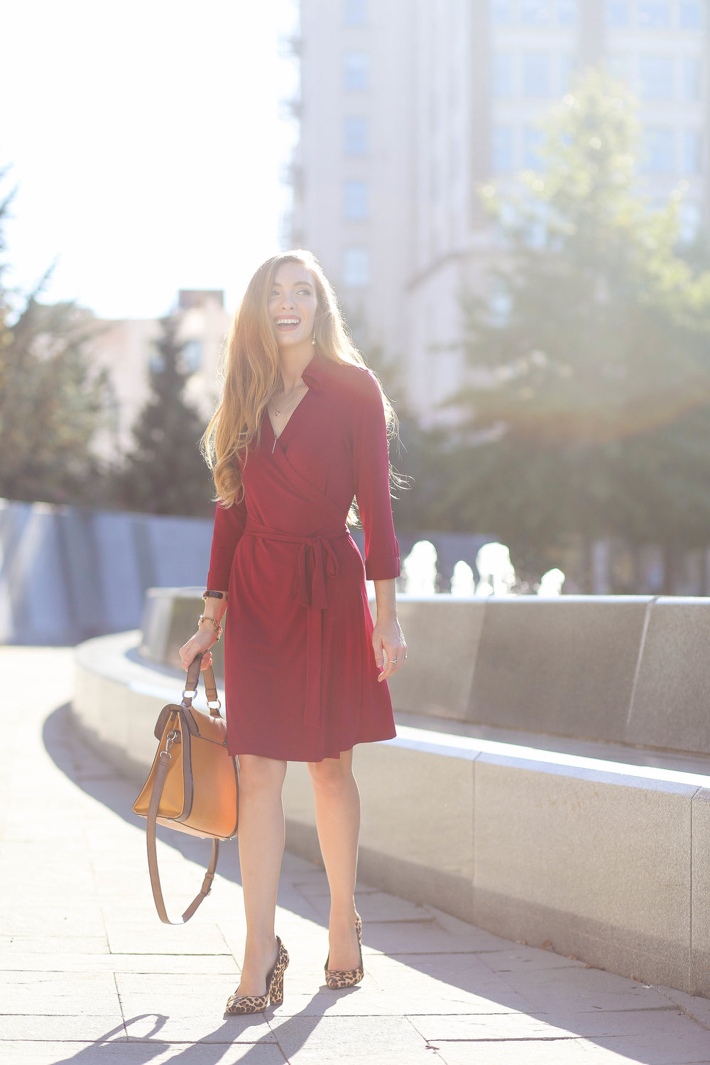 Burgundy Wrap Dress. Leopard Heels. Yellow Mustard Bag. Top Handle Bag.