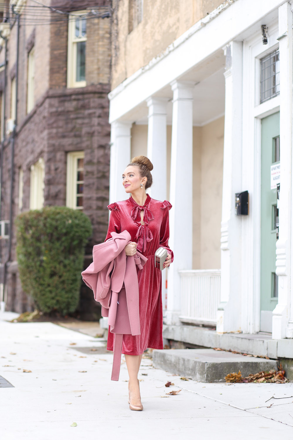 Velvet Bow Dress c/o || Dusty Rose Coat || Similar Rose Gold Shoes || Similar Gold Clutch || Jackie Kennedy Earrings || Jackie Kennedy Cascade Ring || Stella And Dot Ring ||