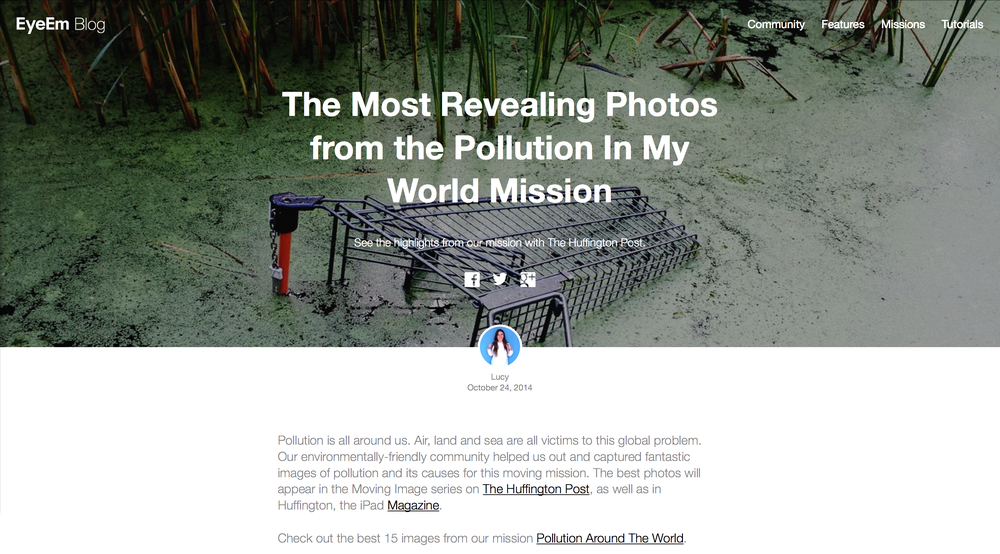 "Please click the image below to read EyeEm's official blog post regarding their mission with The Huffington Post — ""Pollution in My World""."