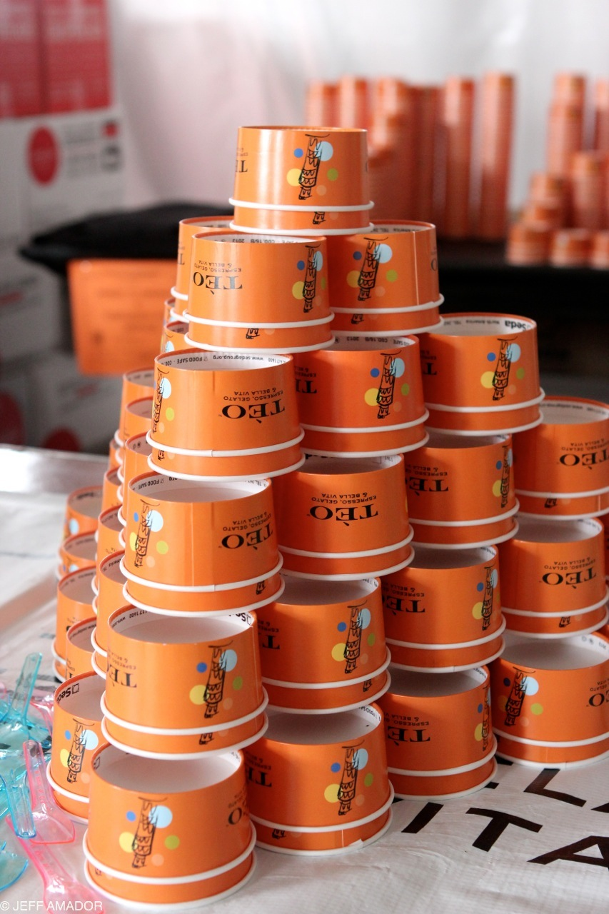 Stacks and stacks of gelato cups