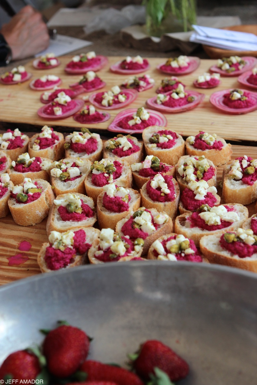 Beet puree and feta cheese on crostini and/or more beets