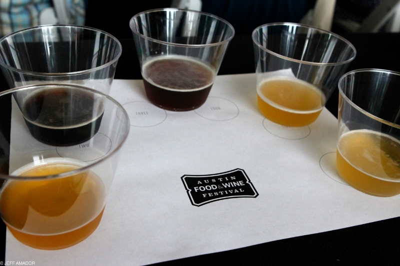Beer samples from the Hops Aboard! panel