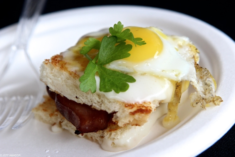 Croque madame wiith duck bacon and a quail egg from Trace
