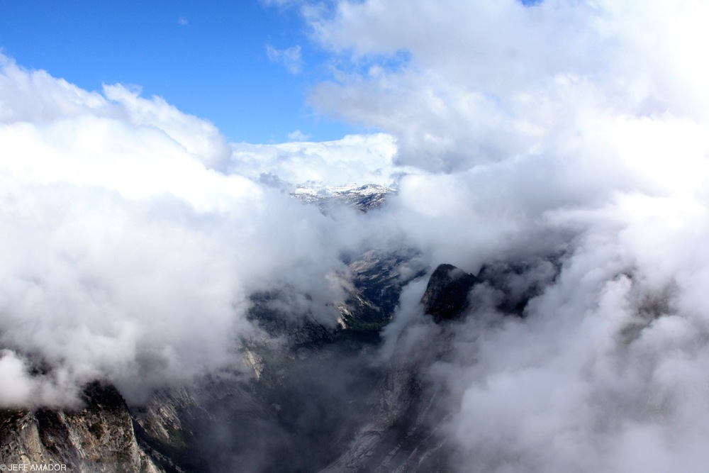 The clouds are breaking above Yosemite Valley