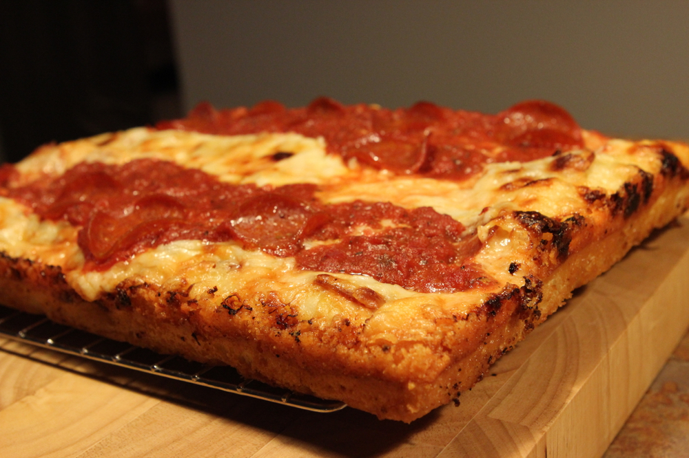 My first attempt at a Detroit-style pizza. Started simply with just pepperoni.