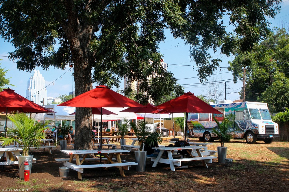 The GoodLife Food Park offers shade, seating, free wifi, and a great selection of food trucks