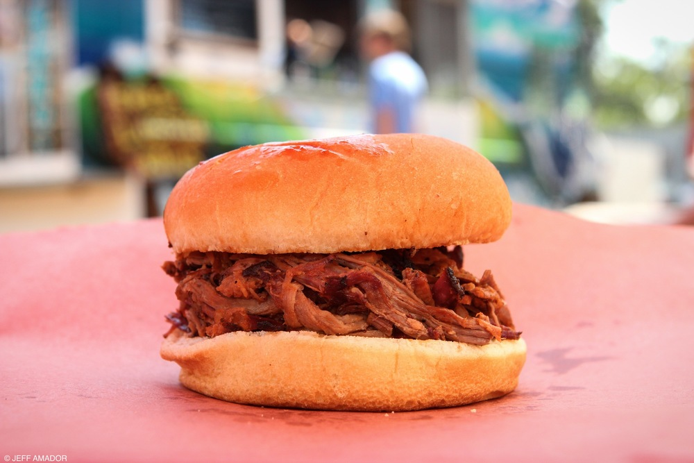 A simple chopped beef sandwich from La Barbecue...
