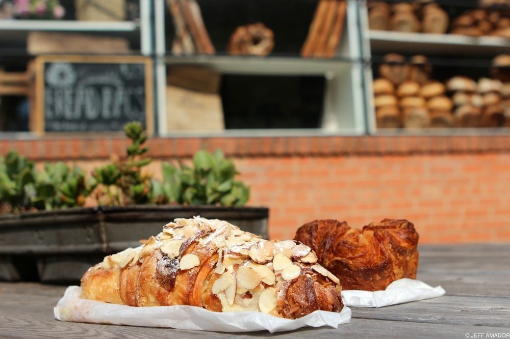 My go-to pastry order: one almond croissant, one kouign amann.
