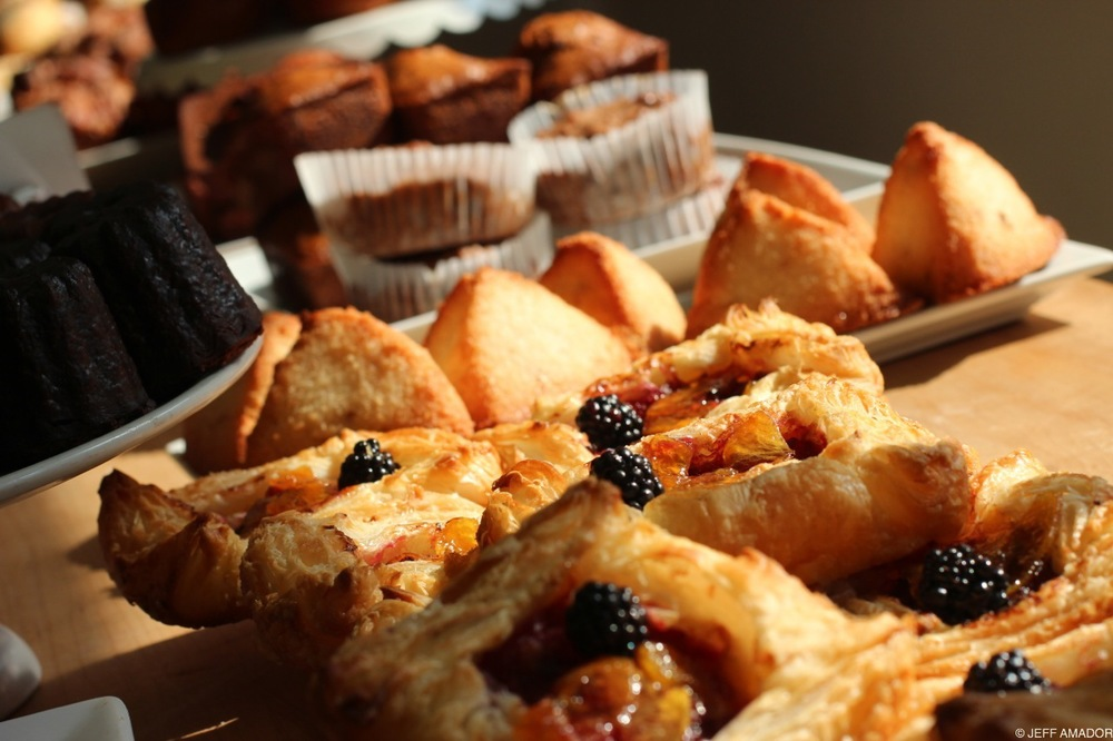 A selection of caneles, fruit tarts, bread puddings, and so much more.