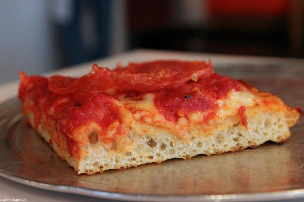 Grandma slice with spicy soppressata. That crumb!