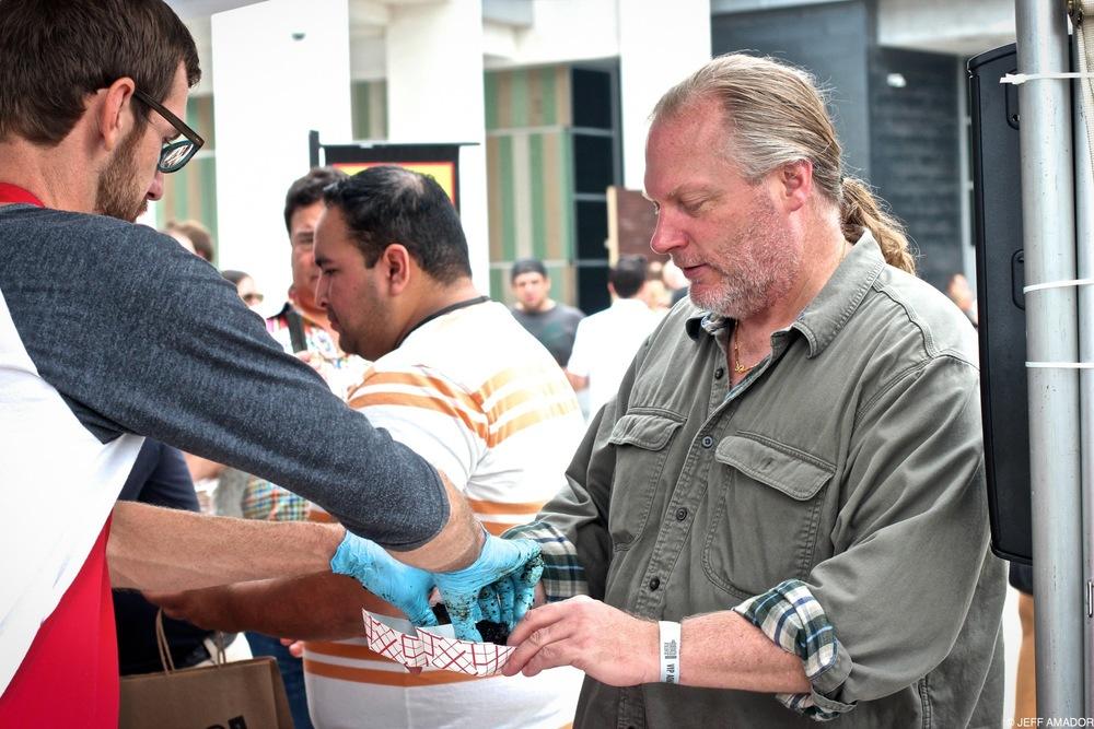 John Lewis of La Barbecue, feeding the crowd