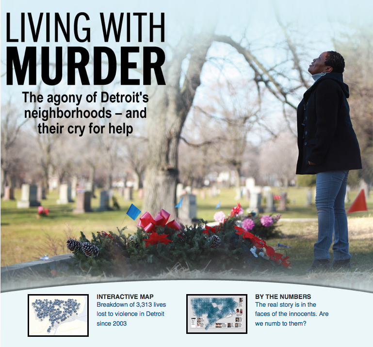Our 2012 Edward R. Murrow winner included compelling video, stories and an interactive map of ten years of homicides in the city. It was the principal work of Romain Blanquart, Suzette Hackney,  Carlton Winfrey, Kathy Kieliszewski, Kristi Tanner, John Sly and a cast of many supporting them.