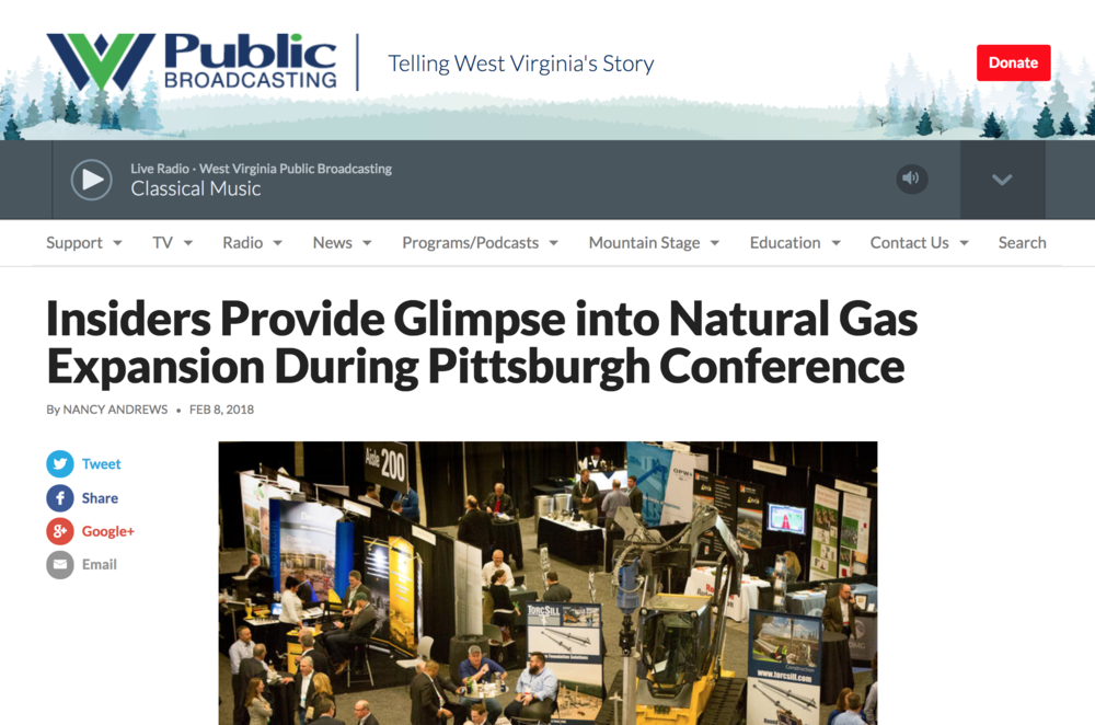 Recent Publications - Since starting the Alicia Patterson Foundation Fellowship in January 2018 I do some occasional freelance work on the topic. Many thanks to West Virginia Public Broadcasting for this post on the Hart Energy Marcellus-Utica Midstream Conference and Exhibit in Pittsburgh.