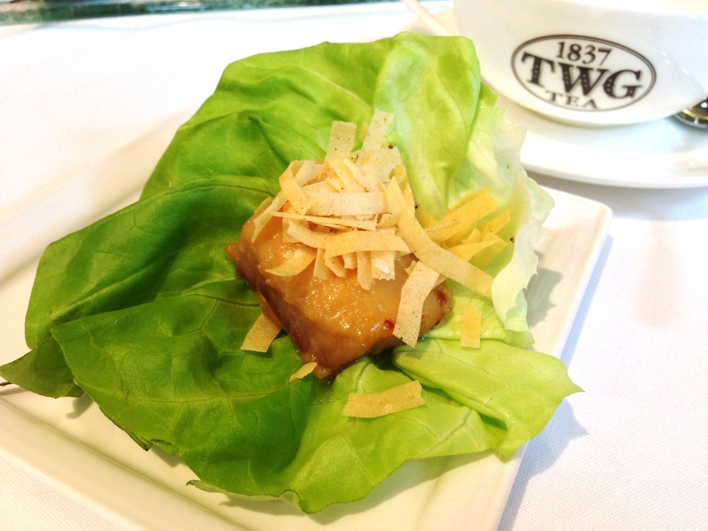 Miso-maple glazed sable fish in butter lettuce