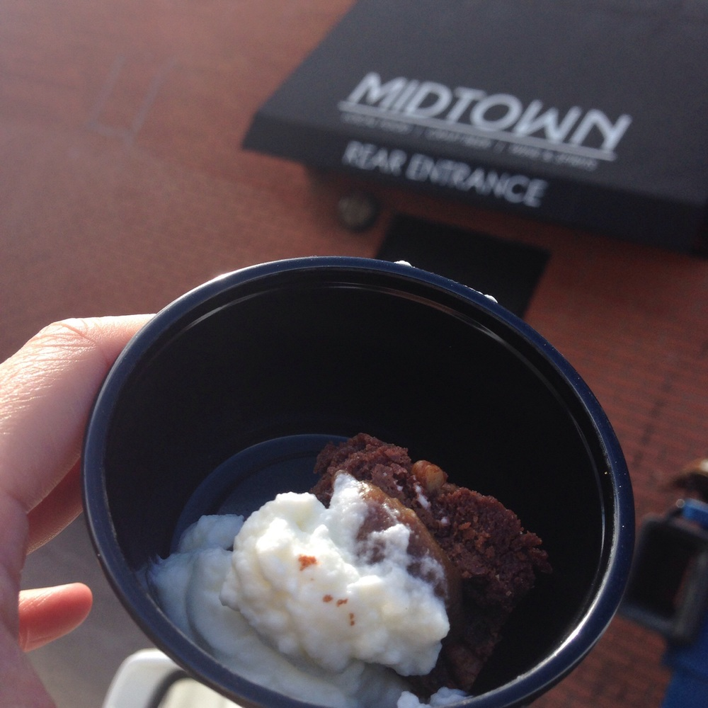 @Midtownyyc - Mini brownie bites with whip cream! YES and thank you!