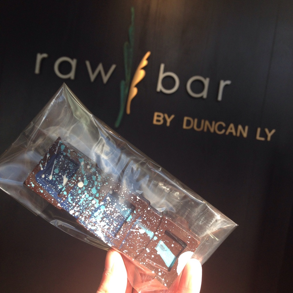 These were gifts from our stop at Raw Bar  @HotelArts, hand painted dark chocolate with blueberry insides!