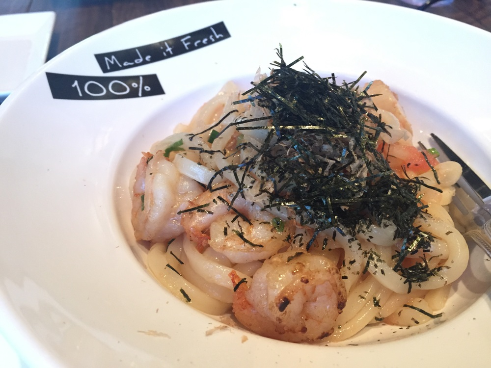 Pan fried scallop + shrimp udon ($14.95)