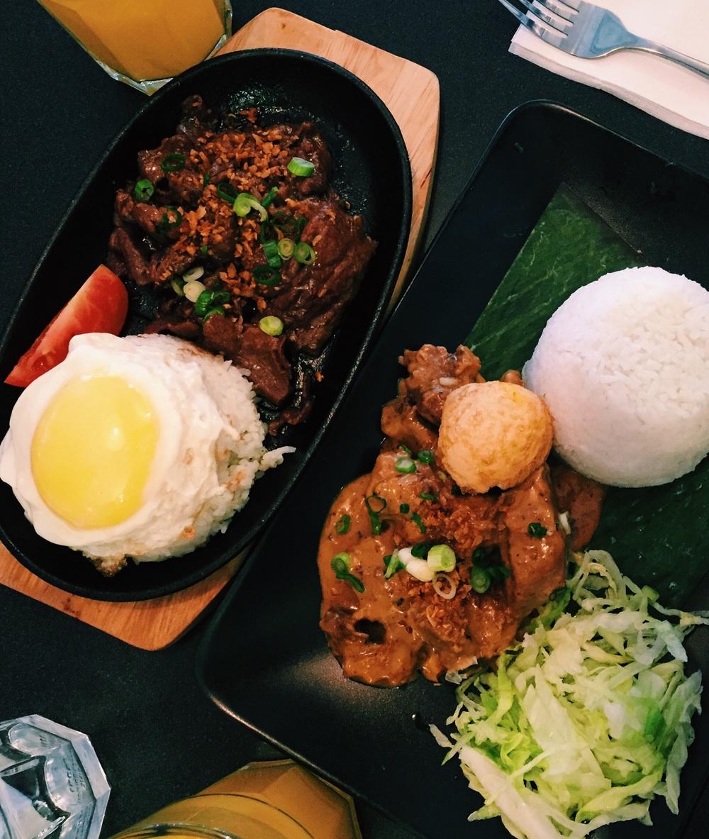 Tapsilog (tapa and egg) &Cheesy Adobo (egg & rice)